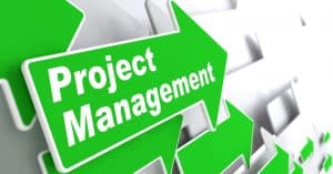 "Project Management - Business Concept. Green Arrow with ""Project Management"" Slogan on a Grey Background. 3D Render."